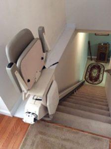Merrett Stairlifts - Straight stairlift folded up