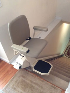 Merrett Stairlifts - Straight Stairlift at top of steps